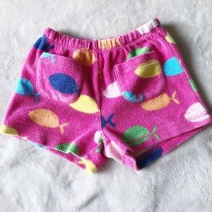 Mini Boden | Terry Cloth Fish Print Shorts